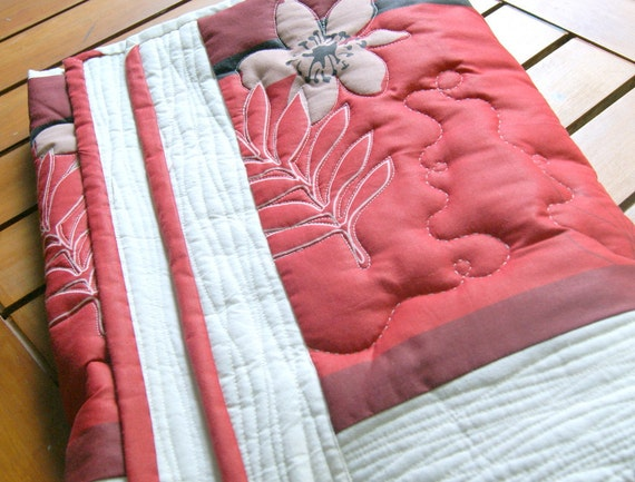 Red Flowery Table Runner - Quilted