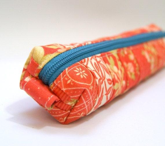 Petite Coral Orange Floral Pencil Case