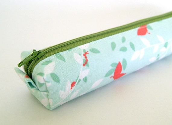 Spring Leaves in Aqua Petite Pencil Case