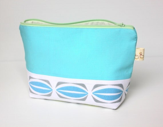 Nautical Aqua Blue Cosmetic Bag, Retro Cotton Large Zippered Make Up Pouch, Everyday Purse