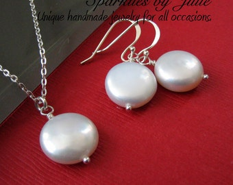 Solitaire Set - pearl necklace & earring jewelry set, Freshwater coin pearls on sterling silver, Bride, Bridal Party