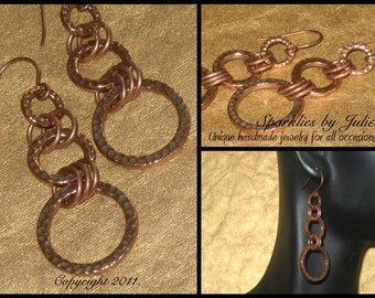 Rings of Poseidon Earrings - hammered, antique copper rings linked with copper jump rings
