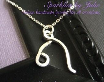 Leo Necklace  - Zodiac necklace, hand formed, sterling silver Astrological Symbol pendant