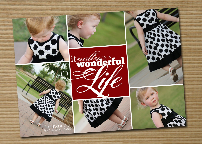 multi photo christmas card collage holiday card  printable