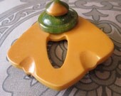 Black and yellow Bakelite Brooch Pin