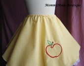 Size 3 4 5 6 Twirl Skirt Snow White Princess girls boutique custom yellow calico cotton apple embroidery