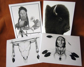 Set of 4 Native American/Nature Notecards