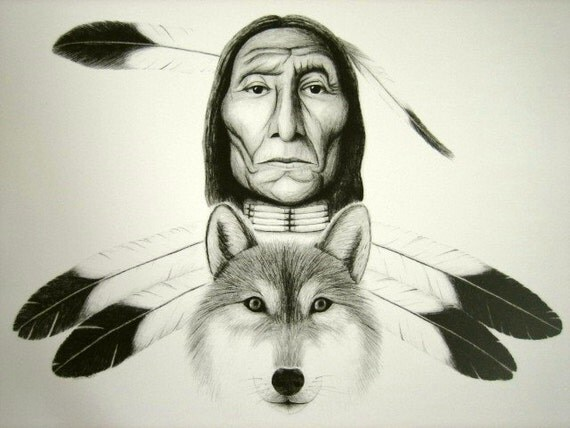 Native American and Wolf 11x17 print