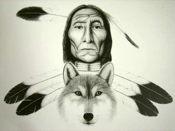 Native American & Wolf 8x10 print