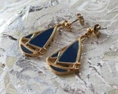 Vintage SAIL BOAT Navy Blue and Gold Metal Earrings