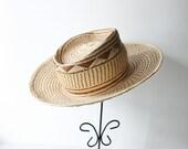 Vintage Tan Straw Cowboy Hat, Small