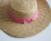 reserved...Vintage Country Straw Hat - Pink Ribbon - Anchor Button