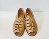 20 Dollar Sale - Vintage 80s GLADIATOR Sandals - Nicole Gold Leather - Women 10M