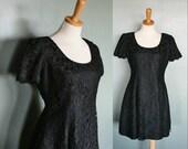 reserved...Vintage LITTLE BLACK Dress - Lace Overlay - Women M