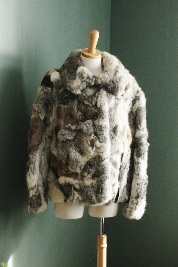 summer half off sale // Vintage 80s Rabbit Fur Coat, Women Medium