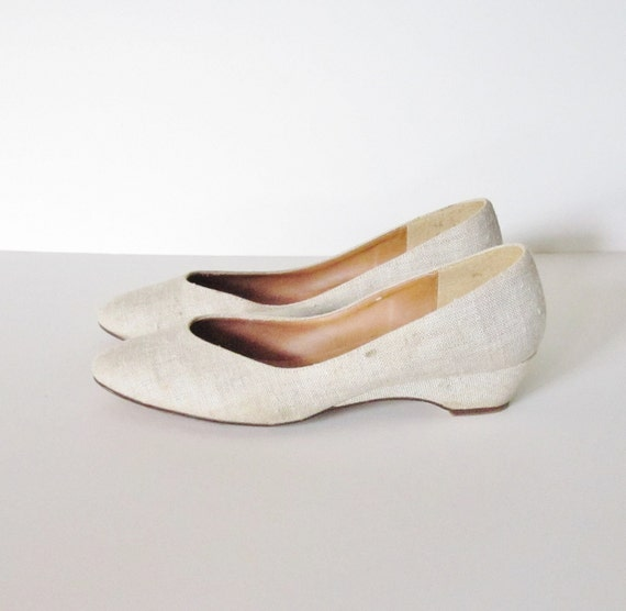 vintage canvas wedge heel summer shoes size 9 5m