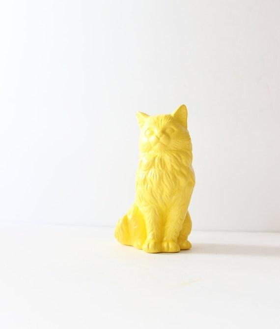 Yellow Cat Figurine - Upcycled Ceramic Home Decor