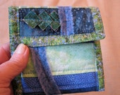 Money Bag Coin Pouch- Green Squares