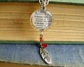 Librarian Feather Personalized Unique Pendant Necklace