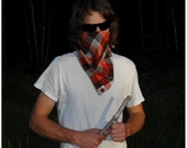 HOLIDAY SALE. 20% off, was 15.00, now 12.00 through the month of December. FLANON flannel bandana- orange/ brown/ white.