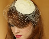 Ivory Lace Vintage Style Fascinator Hat with Birdcage Veil