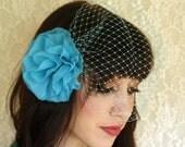 Aqua Blue Flower Hair Clip with Birdcage Veil