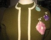 60s Original 2 piece Knit Set Turtleneck Dress n Cardigan
