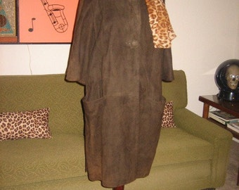 Early 60s Chocolate Suede Swing Coat