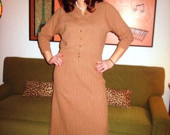 50s Original Carmel Brown Knit Set