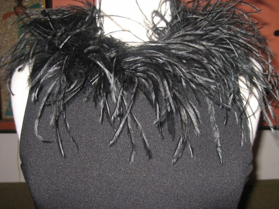 60s Inspired Black Top with Feather Collar
