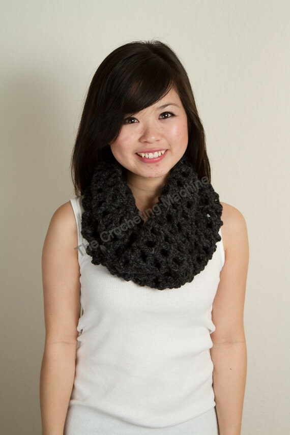 Charcoal Gray Neckwarmer with 50% Wool