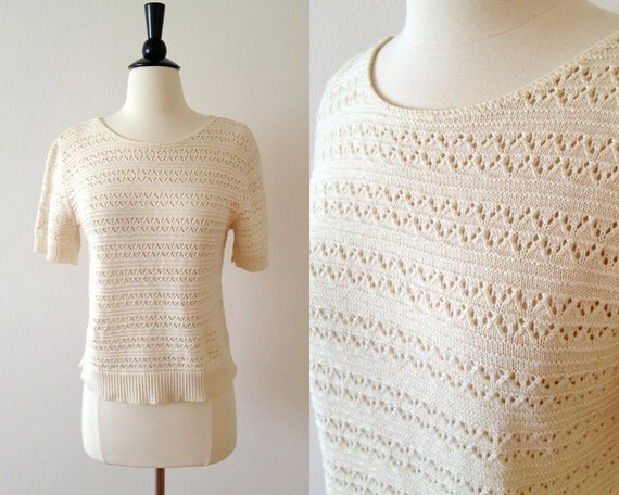 1970s cream pointelle cotton knit sweater top s