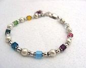 Custom birthstone, family, mothers bracelets 6 to 9 birthdays