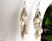 Pearl earrings silver leaves and pearl dangles on chain