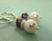 White pearl and amethyst crystal earrings with sterling silver pearl wave