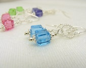 Pink Purple Blue or Green Swarovski cube earrings - pick your color