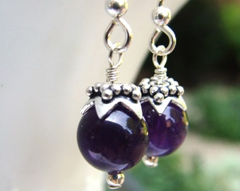 Amethyst Earrings with silver caps