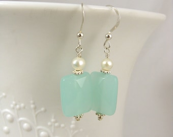 Sea mist glass and pearl sterling silver earrings