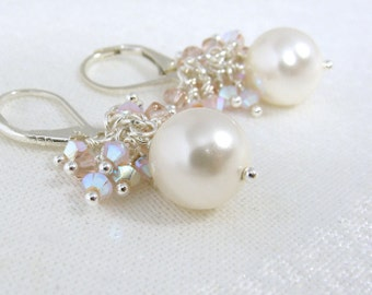 Palest of pink Swarovski pearl cluster earrings
