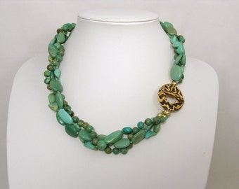 Chinese Turquoise Torsade necklace with bronze toggle