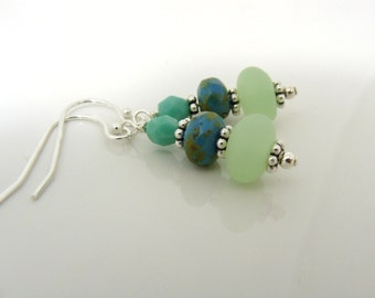 Summer sea glass and turquoise earrings on sterling silver earwires