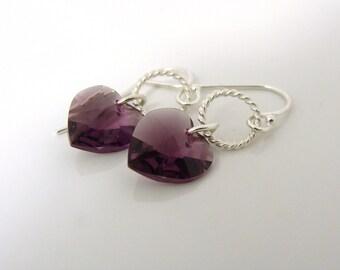 Purple Swarovski crystal heart earrings with sterling silver twisted rings