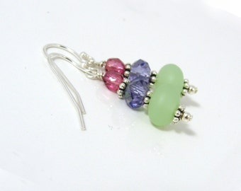 Summer hot pink, purple and sea glass green earrings