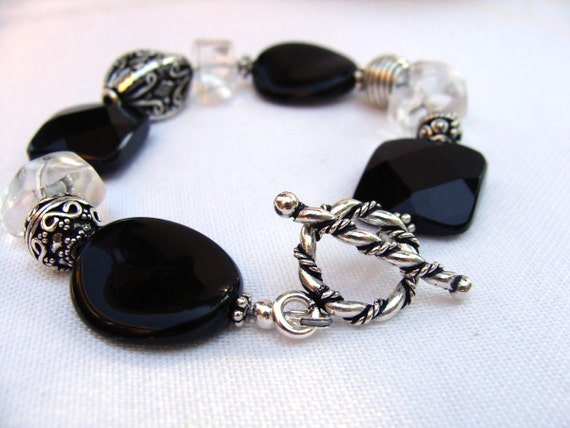 Chunky Bali Bracelet black silver quartz agate