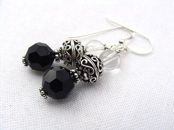 black silver Earrings - bali sterling silver, quartz crystal and Swarovski
