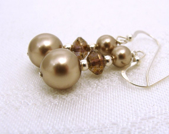 Mocha Latte bronze pearl earrings