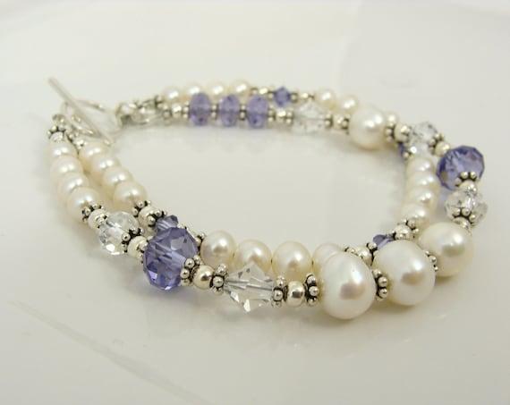 Pearl and Tanzanite Sterling silver Swarovski bracelet