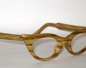 Vintage 50s 60s Cat Eye Eyeglasses. Wood Look. Very Rare
