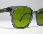 Mens Vintage EyeGlasses Frames American Optical Gray Safety Glasses. NOS