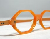 Vintage Eyelgasses Frames. Orange Octagonal.